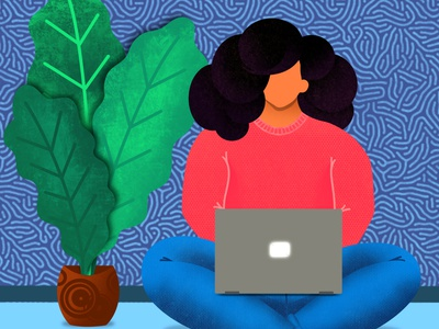 Work From Home cosy winter girl lockdown relax procreate stay home stay safe working from home working character quarantine illustration stay home drawing flat creative design