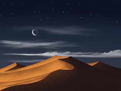 Twilight In The Desert desert illustrations procreate flatdesign abstract art digital painting digital art illustration digital flat happy holidays mountains mountain minimalistic 2020 trend design illustration creative design