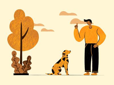 Pet Training Illustration   Petify Illustration digital illustration colorful vibrant pet portrait characetr 2021 trend illustration dog illustration dog pet training vector pet illustration flat procreate creative design illustration