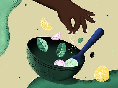 Salad Bowl | Saladgree fruits green leaf digital art illustrator vintage simple illustration adobe illustration colorful flat drawing minimalistic procreate texture salad illustration of web food illustration food illustration