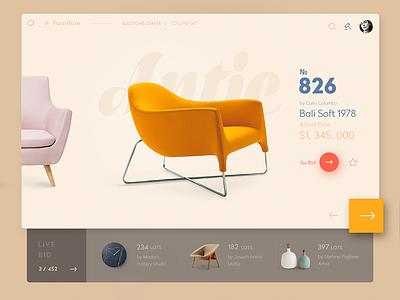 HomeBid — Live Furniture Auction  bid material ios app furniture concept auction design ui