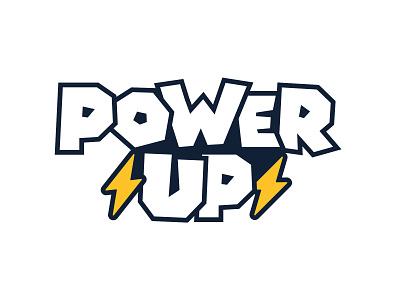 Power Up Logo Mark letter block lightning bolt bolt lightning up power vector design branding logo