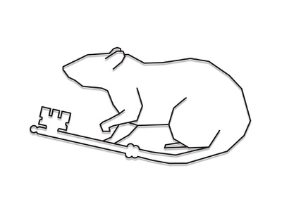 Key Rat Logo illustration white black key rat branding logo