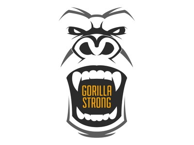 Gorilla Strong Logo strong gorilla illustration white black branding logo