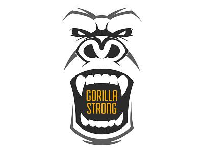 Gorilla Strong Logo strong gorilla illustration white black branding logo