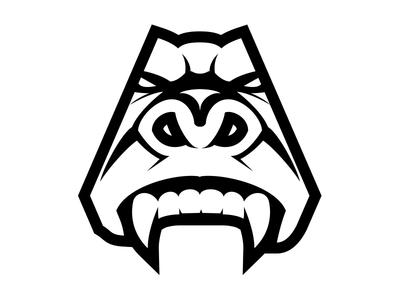 Gorilla Strong - Gorilla Head strong gorilla illustration white black branding logo
