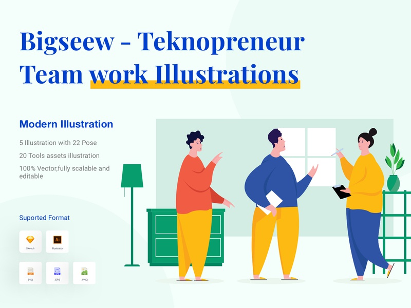 Bigseew - Teknopreneur Team work Illustrations project flat design innovation vector marketing illustration start launch creative success technology development teknopreneur concept business startup unik illustration big illustration