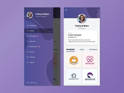 Freelance App (Mockup) adobexd ui design ui ux side menu profile page freelance gradient app design app design mockup