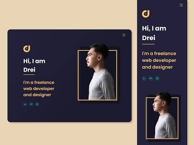 Portfolio - Landing Page adobe xd dark theme gradient yellow web developer portfolio responsive design responsive ui ux dark ui uiux web design landing violet dark