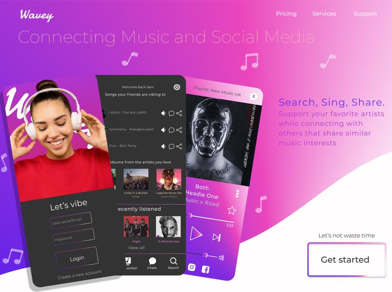 Concept Music App music app music web app ui landingpage figmadesign figma design