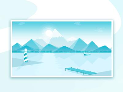 The Viking Port forest mountain illustration landscape boat the viking port