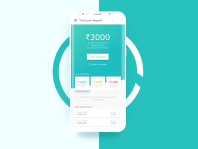 Deposit Automation design flat ux ui business teal application android rohit bind app mockup deposit automation