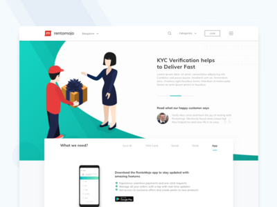 KYC Information Page homepage first fold gradient gift 2d web rohit bind rentomojo page landing page website illustration