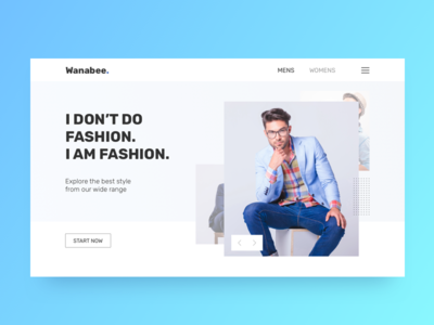 Wanabee Fashion Landing Page / Website / First Fold 👗 clothing landing page website design ui typography ux branding web logo fashion gradient