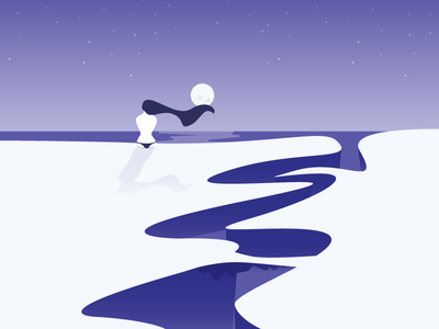 "Sitting on edge of a cliff - ""Just Relax"" ⛰ girl thinking relax moon stars night sky abstract gradient vector design illustration"