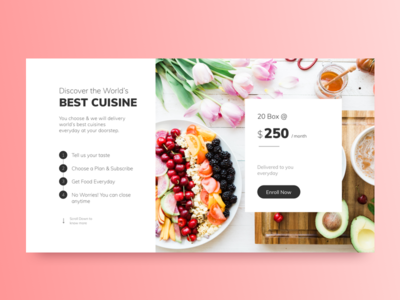 Your Food Box 🍕🍔 landing page gradient design restaurant website web book order first fold ux ui food box