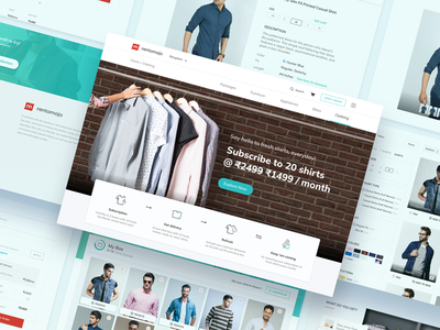 Men's Apparel - Say hello to fresh shirts, everyday! fashion filter product page category cart web website launch landing page subscription apparel clothing