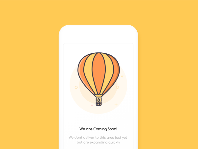 Coming Soon in your City | Empty State city coming soon comingsoon hot air balloon rohit bind vector design ux ui illustration