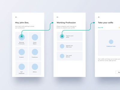 App's Wireframe & Userflow for Fast KYC product design interface mobile userflow wireframe minimal animation app ux design profile verification user flow user experience