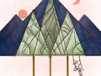 Mountain Sports cubism illustration