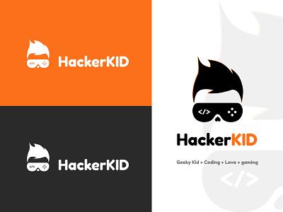 Hacker Kid kid geek vector gamming love coding logodesign logos logotype logo