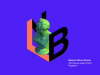 National Library logo design perspective 3d goethe bust sculpture library