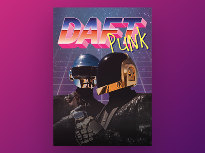 Daft Punk poster typography design concert music type illustration print poster