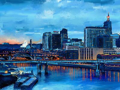 Panoramic panoramic landscaping pintura digital illustration