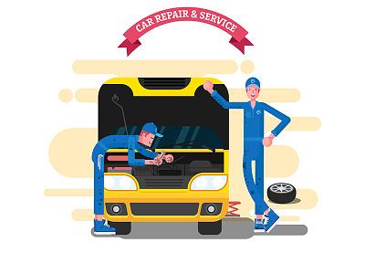 Car repair & Service geometrical flat design illustration car service car repair