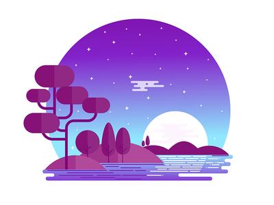 Midnight Landscape sky stars midnight flat vector sunrise night nature illustration landscape