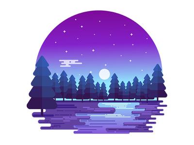 Winter Midnight Moonlight sky stars midnight flat vector night nature illustration landscape