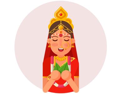 Bangali Bride indian culture indian cartoon bride  groom indian bride bride bengali bride bengali flat design geomatric design geomatrical beauty girl geometrical design flat vector illustration