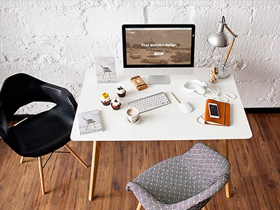 iMac - 10 photo mockups design interior header template scene desk workspace workplace imac mockup imac photo mockup mockup