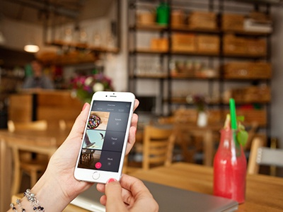 iphone 6 in the cafe - 6 photo mockups