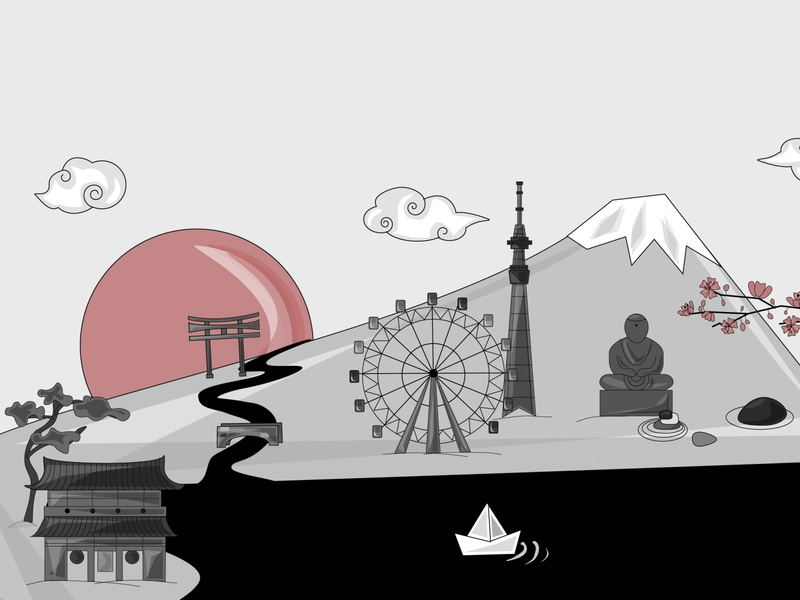 Tokyo postcard tokyo japanese japan blackandwhite black  white black and white greyscale grey monochromatic monochrome illustration graphic design graphicdesign design vector illustraion digital illustration