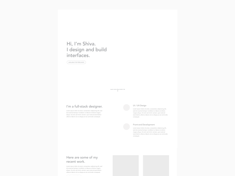 Personal website - wireframe landing page portfolio site minimal wireframes website