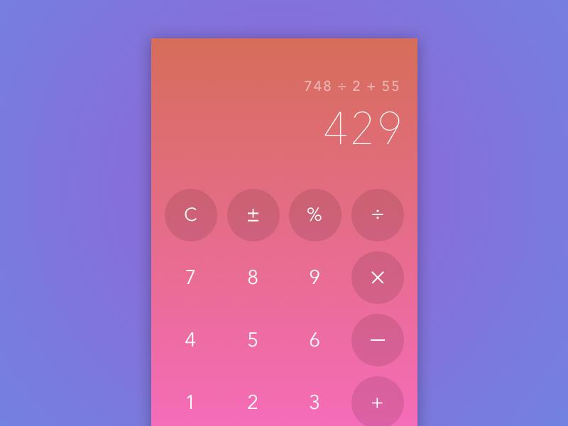 #004 Calculator mobile gradients calculator dailyui