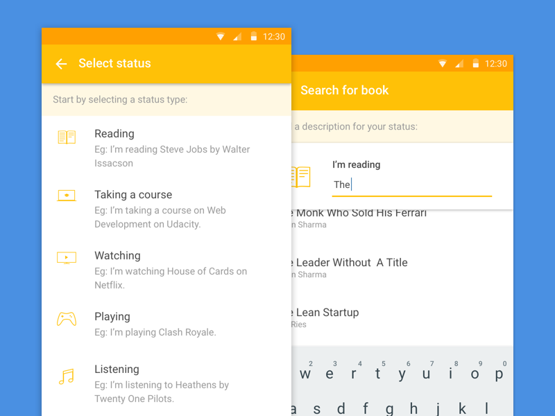 Samepinch Android app status update material design lists search android