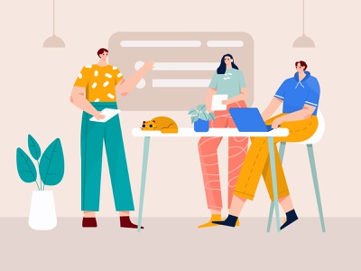 Meeting with the team Illustration chat illustration woman illustration character woman planning plan vector team b2b illustration conversation cat meeting business startup flat ilustration illustration