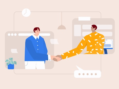 Dealing project with virtual handshake illustration work together working illustration work project goal project deal handshake wfh virtual work from home group illustration team startup meeting illustration conversation chat illustration character business b2b illustration