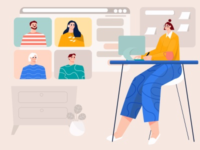 Virtual meeting with the team illustration team illustration team group woman illustration vector videi chat video conference video call virtual meeting work from home virtual woman flat ilustration meeting illustration conversation chat illustration character business b2b illustration