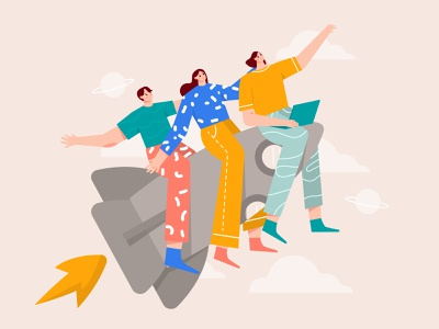 Launching new product illustration flat illustration womans release product launch startup team illustration group illustration empowered woman rockets launch rocket product design new product product team illustration character business b2b illustration