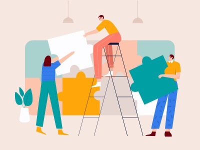 Solving puzzle jigsaw with the team illustration jigsaw illustration puzzle game work together flat illustration colorful challenge puzzle jigsaw team illustration group illustration group startup meeting team illustration character business b2b illustration