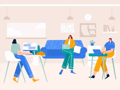 Meeting with the team at workspace Illustration saas illustration planning illustration plan discussion vector workspace flat ilustration woman group illustration startup team meeting illustration character business b2b illustration
