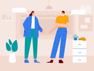 Two people talking illustration chat bulbble chat bubble animation talking heads vector talk bubble discuss talking talk flat ilustration woman group illustration startup team meeting illustration character business b2b illustration