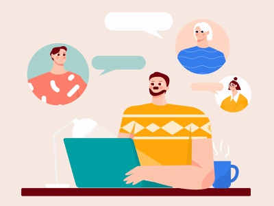 Virtual meeting from home illustration virtual reality flat discussion video chat video conference video call work from home virtual chat illustration flat ilustration woman group illustration startup meeting team illustration character business b2b illustration
