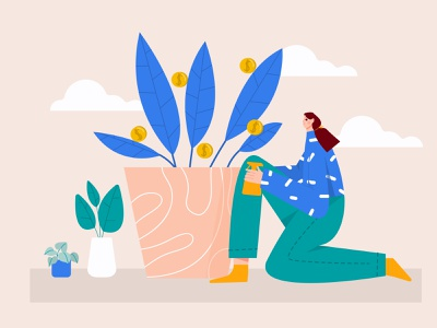 Woman watering money tree illustration profit watering money tree tree plant investment money invest investing illustration character business b2b illustration