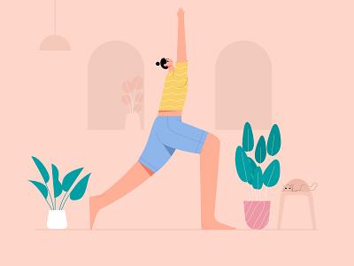 Woman Warrior I Yoga Pose Illustration character yoga exercise yoga app illustration yoga illustration yoga pose fitness wellness health woman flat illustration vector mindfulness yogas meditation