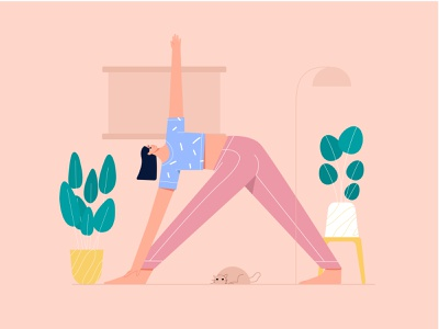 Woman Yoga Meditation Illustration yoga exercise yoga app illustration yoga illustration yoga pose fitness wellness health woman flat illustration vector mindfulness yogas meditation