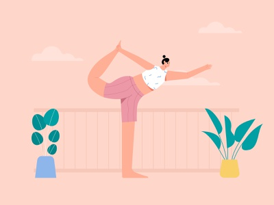 Woman yoga lord of the dance pose illustration yoga exercise yoga app illustration yoga illustration yoga pose fitness wellness health woman flat illustration vector mindfulness yogas meditation